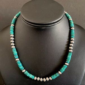 Jewelry - S.Silver Turquoise W Navajo Pearls Bead Necklac